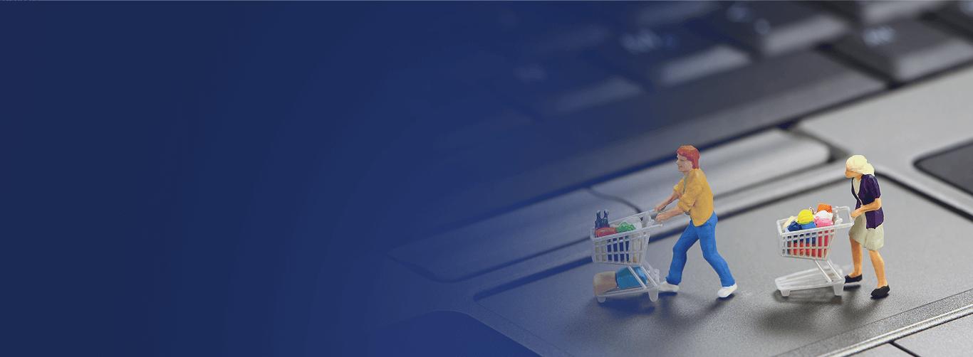 ecommerce figures pushing pushcarts