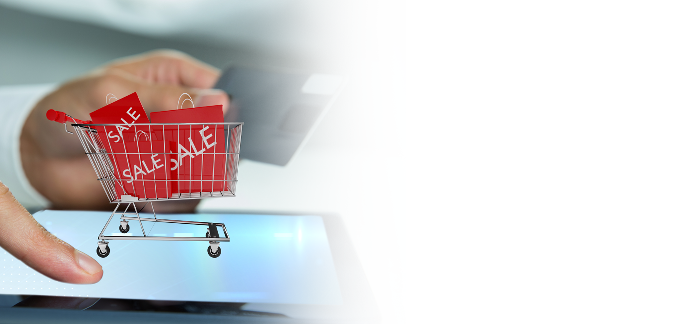 ecommerce pushcart with sale bags