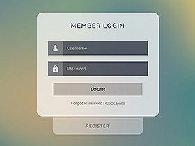 login panel for web and mobile applications